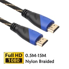 0.5m 1m 1.8m 3m 5m Braided HDMI Cable V1.4 AV HD 3D Male to Male 1080P HDMI Cable for PS3 Xbox HDTV