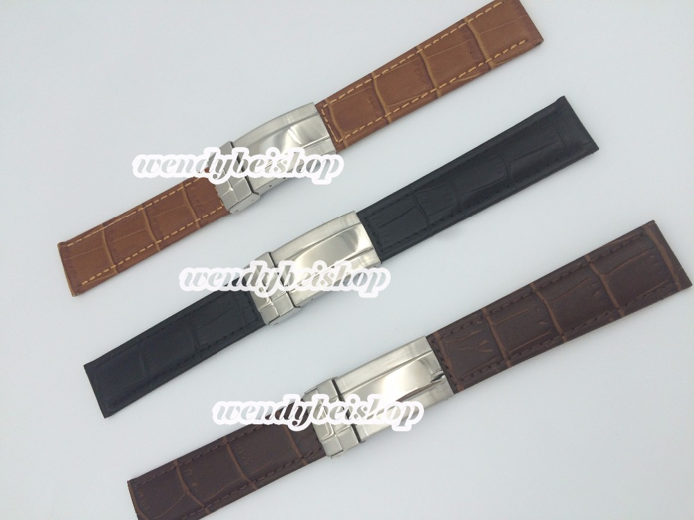 20mm New genuine leather Black Brown Dark brown crocodile strap watch band with silver stainless steel clasp for ROLwatchband<br><br>Aliexpress