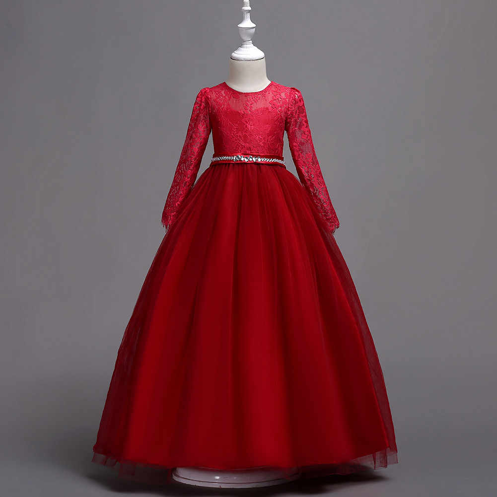 Long Sleeve Kids Birthday Party Wedding Ball Gown Lace Red