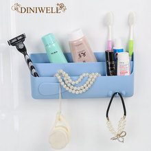 DINIWELL Multi Bath Strong sticky Plastic Storage Box For Cosmetic Hook Hanger Home Wall Door Side Key Zakka Holder Organizer(China)
