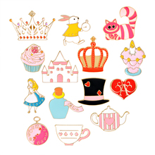 Cartoon Fairy Alice Hat Cake Castle Heart Crown Candle Syrup Rabbit Clock Cat Brooch Button Pins Jacket Pin Badge Jewelry Gift