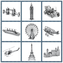 Best Quality Miniature 3D Metal Model Puzzle Building Kits Ship Castle Bridge Fighter 3D Jigsaw Puzzle Educational Toys for Gift