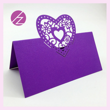 100cs/Lot Romantic Dark Purple Love Heart Laser Cut Wedding Party Table Name Place Cards Favor Decor Wedding Decoration  Card