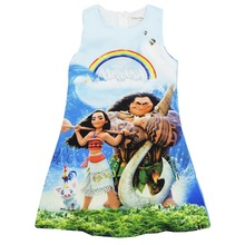 2017 Baby Girl Dress Moana Cartoon Summer Cotton MOANA Dress Costumes For Girls Party Kids Dresses Children Dress N04