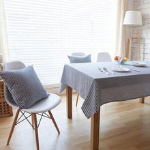 Modern Style Linen Cotton Table Cloth Muliti-size Tablecloth Blue Red Striped Table Cover For Hotel Cafe Home Party