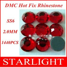 Hot sale,FREE SHIPPING,DMC hot fix rhinestone,Lt. Siam Color ss6,world dmc stone,China post air mail free,1440pcs/lot star15(China)