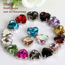 10mm High Quality Sewing on Rhinestone,Heart shape flatback crystal rhinestones with claw  20pcs