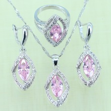 Reginababy Horse Eye Silver color Pink zircon Jewelry Sets For Women Wedding Crystal Rings/Pend ant/Earrings/Necklace with 925(China)