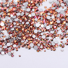 High Quality 1packs Mix Sizes Gold Rose AB Non Hotfix Flatback Nail Rhinestoens Nails Accessories Nail Art Decoration Gems