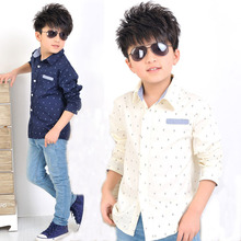 2016 New Kids Anchor Pattern Dress Shirts for Boys Brand Fashion Children Autumn Korean Style Casual Dress Wedding Shirts, C017(China)