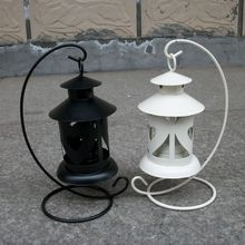 Moroccan Style Candlestick Home Decor Iron Candlestick White & Black Candle Holder Home Decoration Sconce candle Lantern(China)