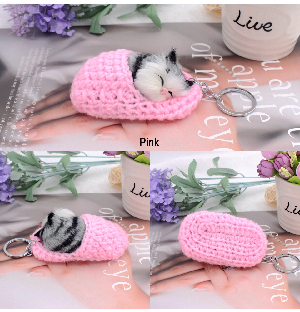 sleeping cat keychain 4