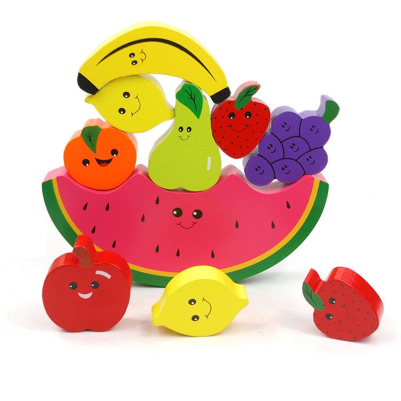 Wooden Fruit Balancing Game Cartoon Learning Education Building Blocks Wood Balance Montessori Blocks Gift Toys For Children<br>