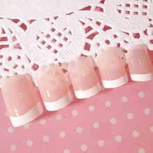 2016 Hot Selling 24 PCS Full Nail Tips Smooth Texture short False Nails Color Pure Faux Ongles French style with glue sticker