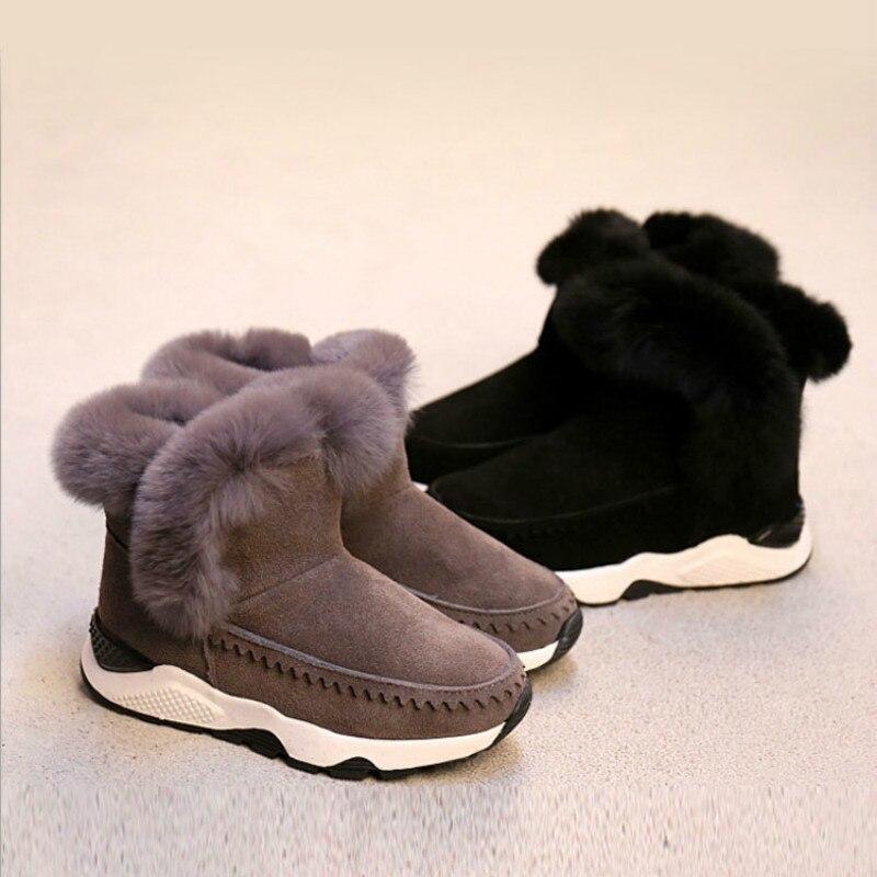 Russian Winter New Large Fur Boys Girls Snow Boots Female Snow Boots Junior High School Big Boy Girls Warm Cotton Shoes<br>