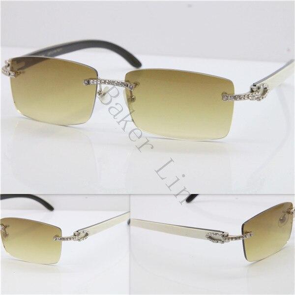 Cartier Rimless Smaller Big Stones 3524012A Original White Black Buffalo Horn Sunglasses in Gold Brown Lens (4)
