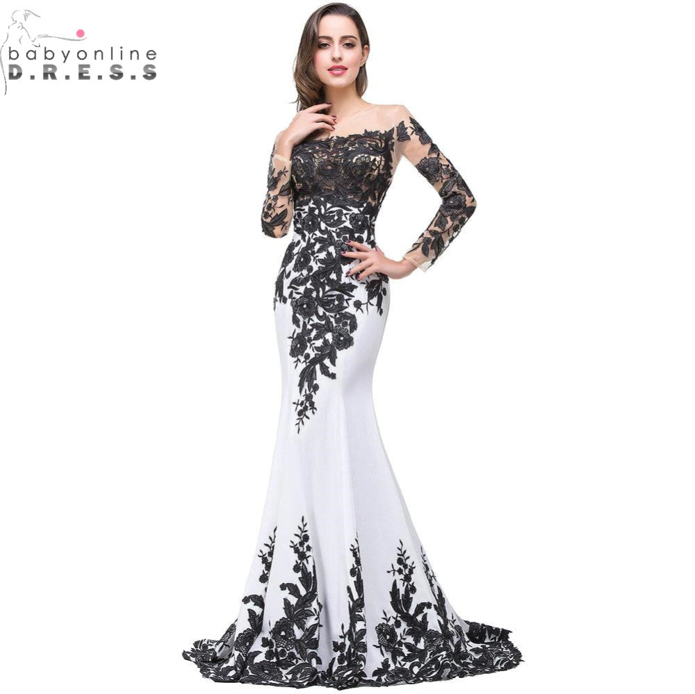 Babyonline Sexy Transparent Black Lace Mermaid White Prom Dresses Long  Boat Neck Sleeveless Evening Party Dresses