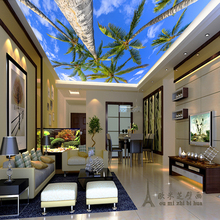beibehang seasonal fresh coconut ceiling living room bedroom garden style wallpaper perspective backdrop mural papel de parede(China)