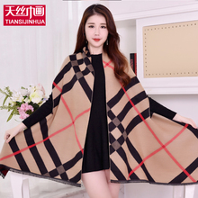 New Brand Women Cashmere Winter Poncho Vintage Blanket Lady Shawl Cape Cashmere Plaid Winter Female Scarf Poncho And Cape Tassel