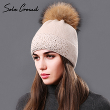 [Sole Crowd] 2017 Fashion rhinestone women knitted hats beanies winter warm cap fluffy natural raccoon Fur pompom hat for Female(China)