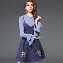 2017 New Limited Cotton Tacksuits Female Autumn Winter Fashion Long Sleeved Sweater Embroidery Suede Straps Dress Skirt Suit(China)