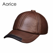 HL100 Men's genuine leather baseball cap hat brand new real cow skin leather women's caps hats