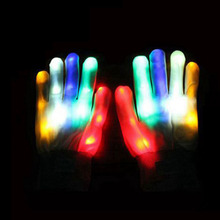 1 Pair LED gloves luminous flower finger light gloves party supplies dancing club props light up toys glowing unique gloves