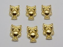 100 Gold Tone Metallic Acrylic Owl Studs 14X9mm No Hole Cell Phone Deco(China)