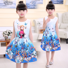 2017 spring summer Kids Girls princess dress children girls dress hot sale,Children's girl cartoon flower print frozen dress