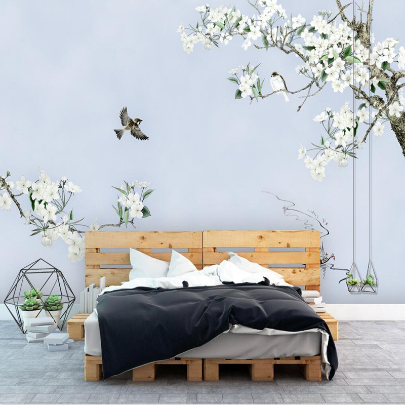 3D Wall Murals Photo Wallpaper 3D Chinese Style Flower Wall Murals Scenery Bird Wallpaper Landscape Backdrop Roolls Wall Murals<br>