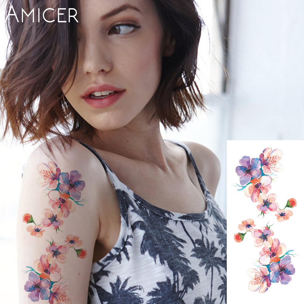 3D lifelike Cherry blossoms rose big flowers Waterproof Temporary tattoos women flash tattoo arm shoulder tattoo stickers 24