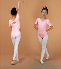 Discount Short Sleeve 3-15Y Girl Gymnastics Leotard Ballerina Kids V-neck Practice/Stage Clothes Children Ballet Cheap Dancewear