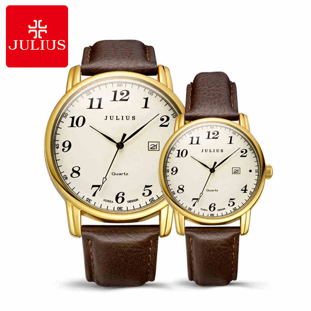 Best Lovers Hot Digital Watches Women Men Calendar Fashion Casual Quartz Wrist Watch Leather Band Luxury Brand Julius 508 Clock<br>