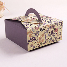 14*14*6.5cm Gray Cupcake Boxes With Handle Cookie Packaging Box 100pcs/lot Free shipping