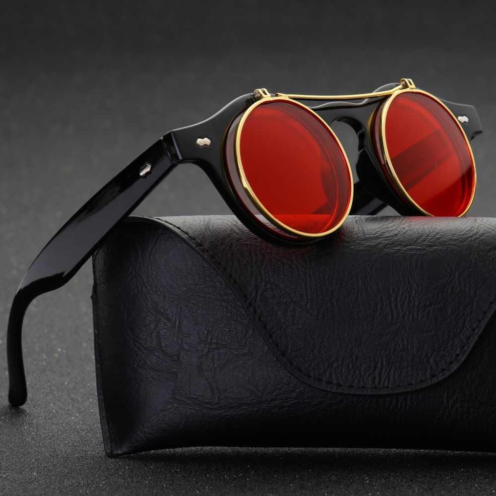 6748668fd8bc 2019 Metal Flip Cover Sunglasses Women Brand Designer Retro Round Steampunk  steam punk Fashion Sun glasses