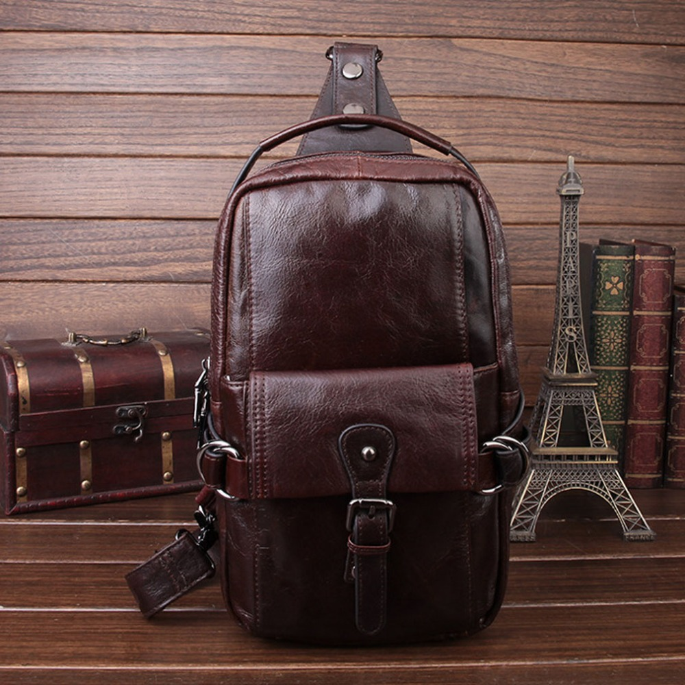 2017 Men Oil Wax Genuine Leather Cowhide Sling Chest Pack Travel Messenger Shoulder Cross Body Bag Leisure Bags<br>