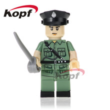 Single Sale Super Heroes Military Hongkong Police Unit Marine Corps Bricks Building Blocks Learning Toys for Children PG1036(China)
