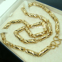 n299- Heavy 60cm Length18K Gold Filled Cool Solid Link Chain Men Necklace 6mm