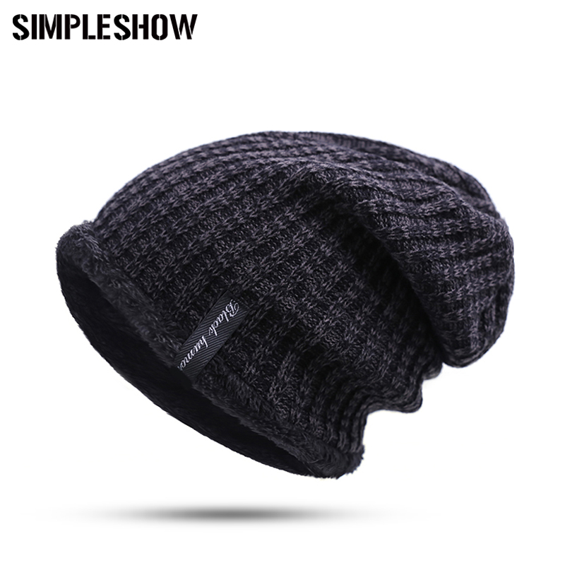 2017 New Fashion Hat Warm Winter Hat For Men Skullies Beanies Solid Knitted  Hat Warm Cap Women Beanies Cap Elastic Drop Shipping 90a8cd04f05c