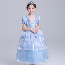 Carnival Girls Halloween Party Dress Christmas Princess Tutu Dress Cosplay Clothes Kid Girls Costume Blue Evening Prom Gown 4-10