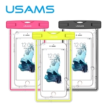 USAMS Universal waterproof phone bag transparent touchable pouch beach Underwater phone Bag for galaxy s6 s5 iphone 6/6s plus