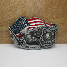 Bullzine US flag security guard belt buckle with pewter finish FP-02960 suitable for 4cm wideth belt free shipping(China)