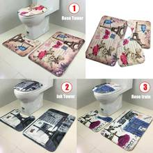 European Style 3Pcs/Set Lid Toilet Seat Cover Pedestal Rug Bathroom Mats Set for Living Room Household Toilet Bowl Mat Set(China)