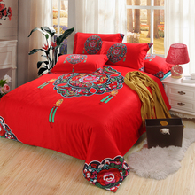 Chinese Knot Wedding Red Bedding Set Cotton Home Textiles Vintage Quilt Cover Pillowcase Bed Sheets for Queen - King Size Bed