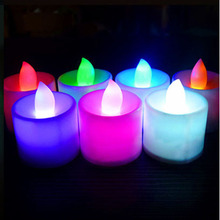1Pc Color Flameless LED Electronic Candle Light Tealight Tea Candles Wedding Light Battery Colorful Lamp Hot
