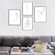 Black White Line Curve Abstract Portrait Painting Dance Girl Abstract Linear Picasso Minimalist Art Canvas Poster Painting