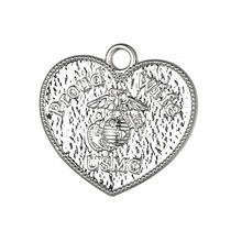 my shape Silver Plated Proud Wife of USMC United States Marine Corps Pendant Charm Heart Findings for Jewelry Making Wholesale