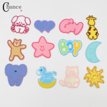 Free shipping Baby clothes lovely logo patch 12Pcs cute iron on patches for clothing fashion fabric DIY