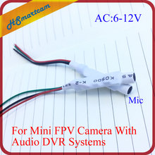 New CCTV 6-12VDC Extremely Sensitive Microphone Voice Pickup Aerial Audio Signal Collection For Mini FPV Mic Camera DVR Systems(China)