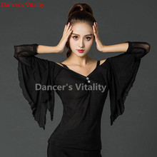 Elegant  Long sleeve V Collar Sexy Latin Dance Clothes Top for Women/female/Lady Ballroom Costume Practice Dress S-XXL